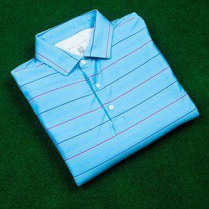 Hickey Freeman Golf Light Blue Striped Polo